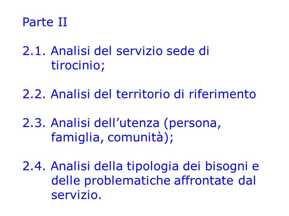 Parte II 2.1.Analisi del servizio sede di tirocinio; 2.2.