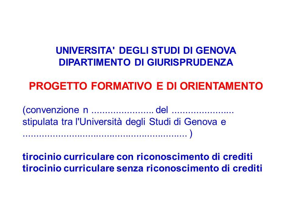 UNIVERSITA' DEGLI STUDI DI GENOVA DIPARTIMENTO DI GIURISPRUDENZA PROGETTO FORMATIVO E DI ORIENTAMENTO (convenzione n....................... del.......