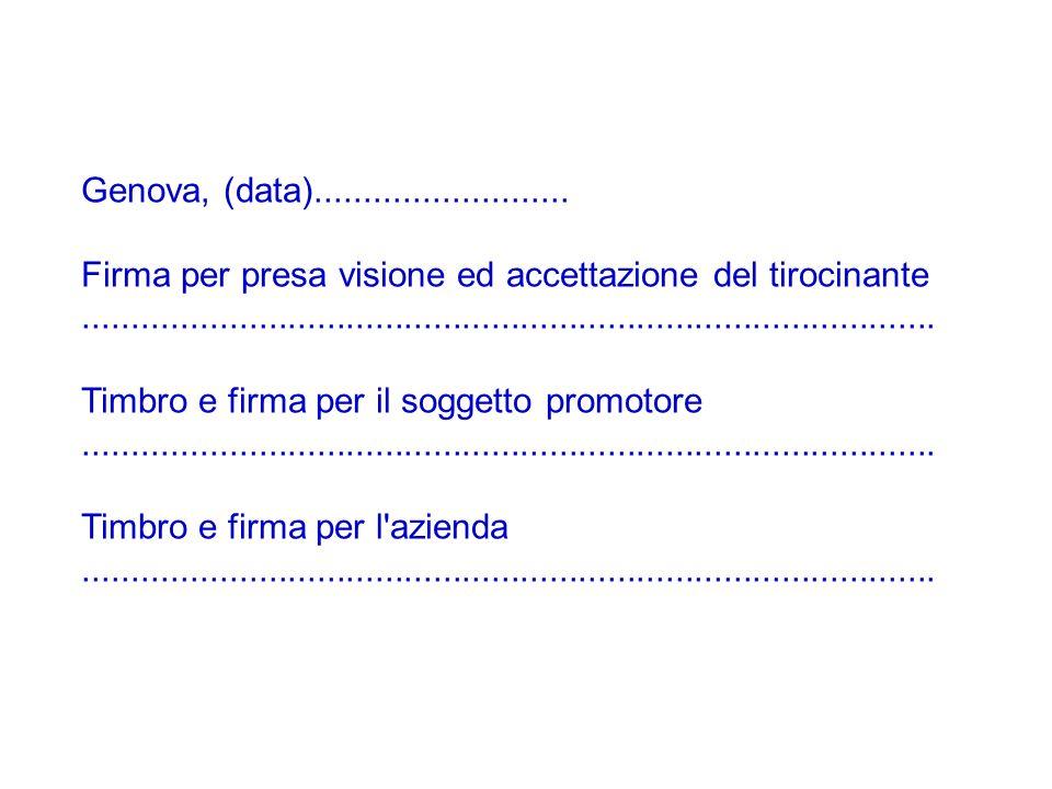 Genova, (data).......................... Firma per presa visione ed accettazione del tirocinante......................................................