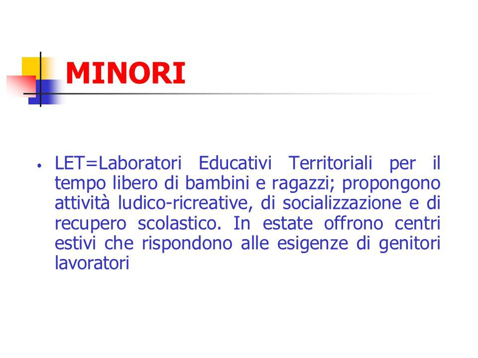 MINORI LET=Laboratori Educativi Territoriali per il tempo libero di bambini e ragazzi; propongono attività ludico-ricreative, di socializzazione e di