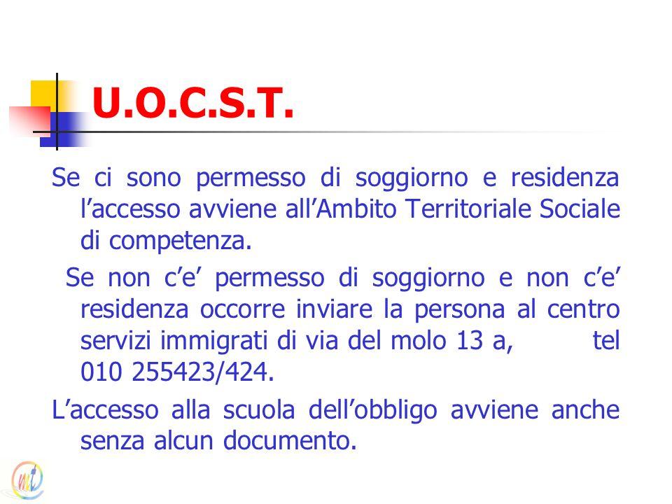U.O.C.S.T. Se ci sono permesso di soggiorno e residenza laccesso avviene allAmbito Territoriale Sociale di competenza. Se non ce permesso di soggiorno