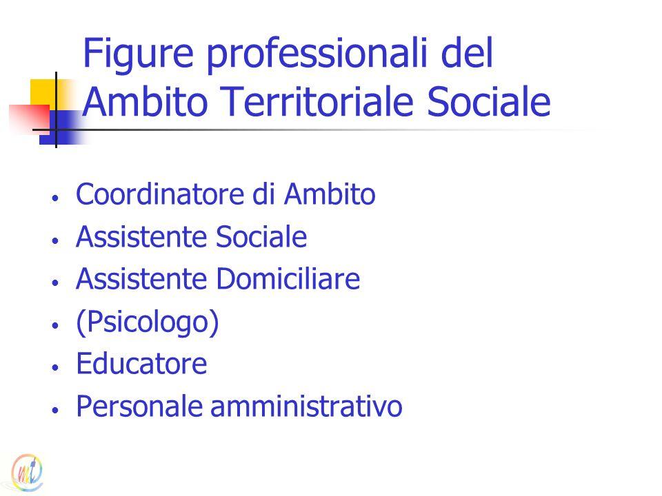 Figure professionali del Ambito Territoriale Sociale Coordinatore di Ambito Assistente Sociale Assistente Domiciliare (Psicologo) Educatore Personale
