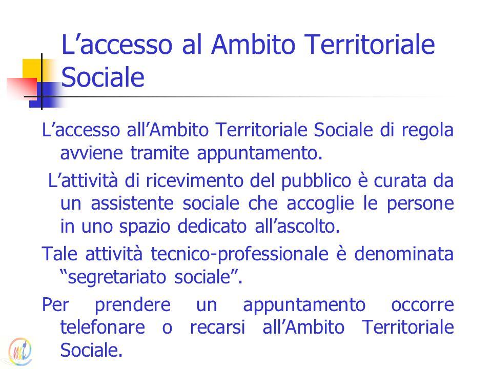 Laccesso al Ambito Territoriale Sociale Laccesso allAmbito Territoriale Sociale di regola avviene tramite appuntamento. Lattività di ricevimento del p
