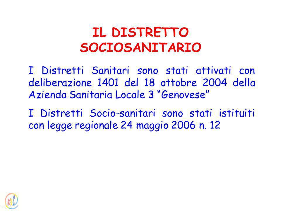 I Distretti Sanitari sono stati attivati con deliberazione 1401 del 18 ottobre 2004 della Azienda Sanitaria Locale 3 Genovese I Distretti Socio-sanitari sono stati istituiti con legge regionale 24 maggio 2006 n.