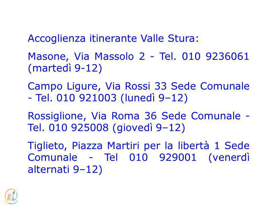 Accoglienza itinerante Valle Stura: Masone, Via Massolo 2 - Tel. 010 9236061 (martedì 9-12) Campo Ligure, Via Rossi 33 Sede Comunale - Tel. 010 921003