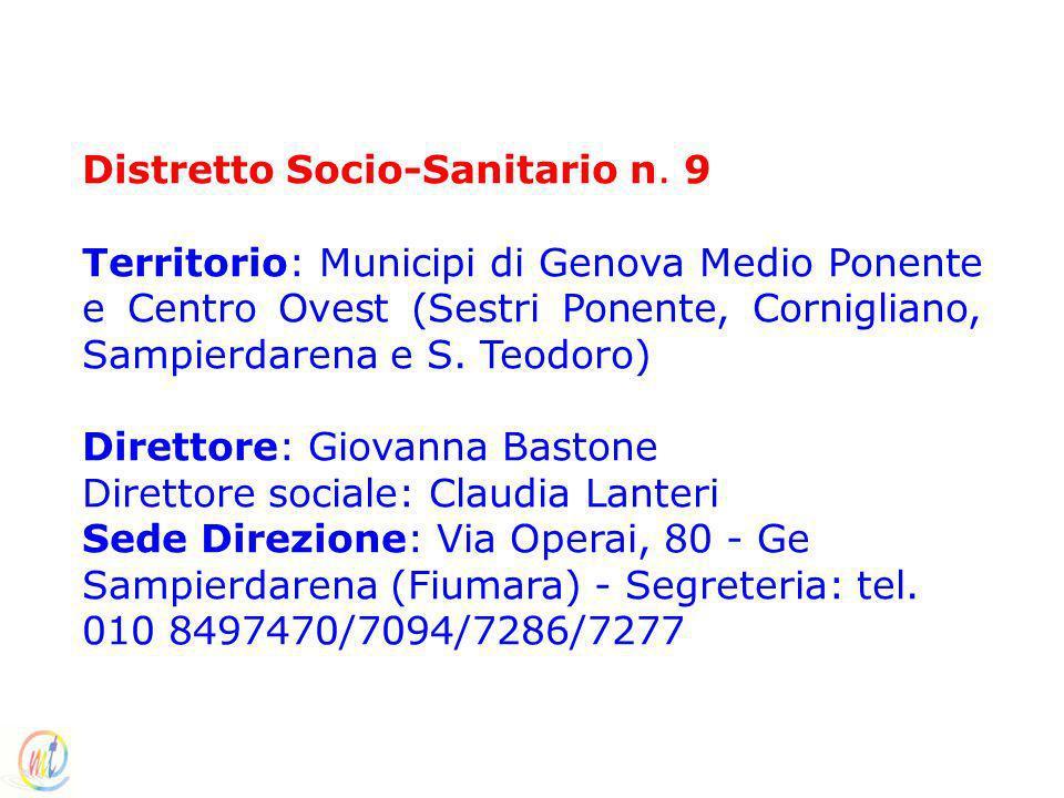 Distretto Socio-Sanitario n. 9 Territorio: Municipi di Genova Medio Ponente e Centro Ovest (Sestri Ponente, Cornigliano, Sampierdarena e S. Teodoro) D