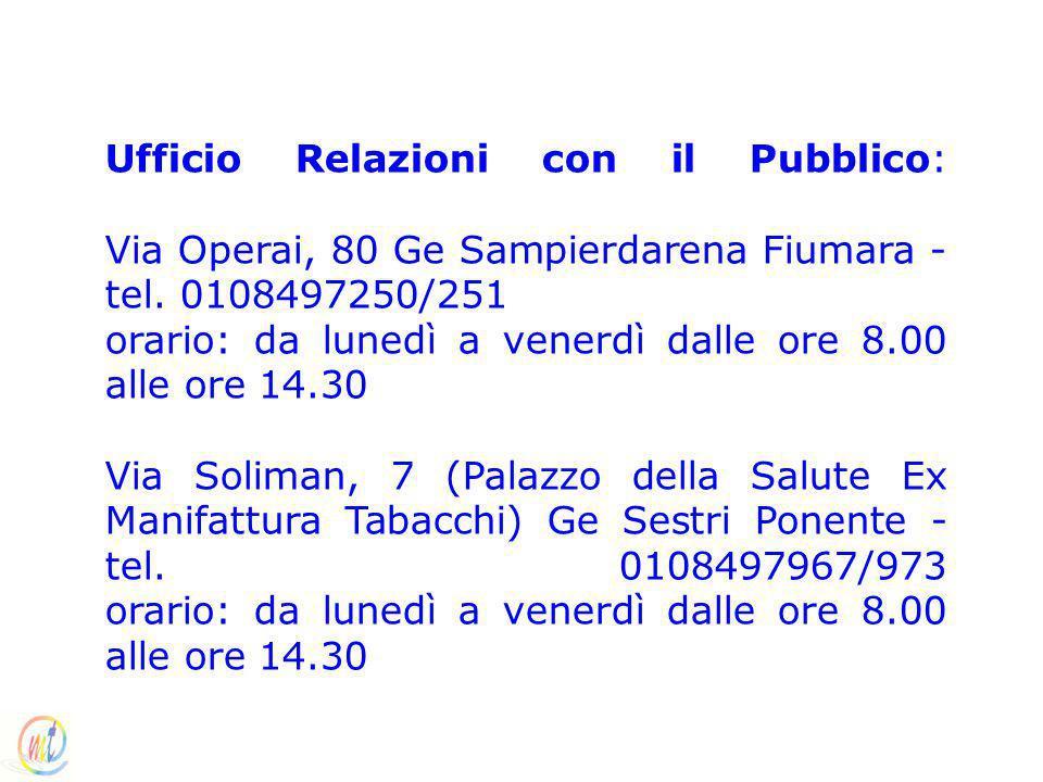 Ufficio Relazioni con il Pubblico: Via Operai, 80 Ge Sampierdarena Fiumara - tel. 0108497250/251 orario: da lunedì a venerdì dalle ore 8.00 alle ore 1