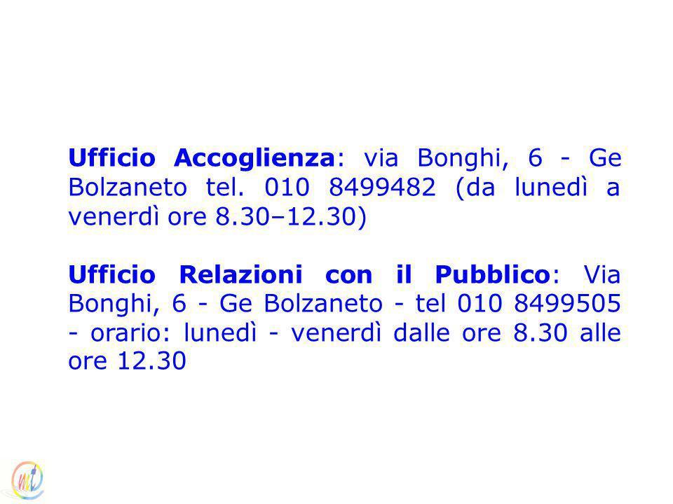 Ufficio Accoglienza: via Bonghi, 6 - Ge Bolzaneto tel. 010 8499482 (da lunedì a venerdì ore 8.30–12.30) Ufficio Relazioni con il Pubblico: Via Bonghi,