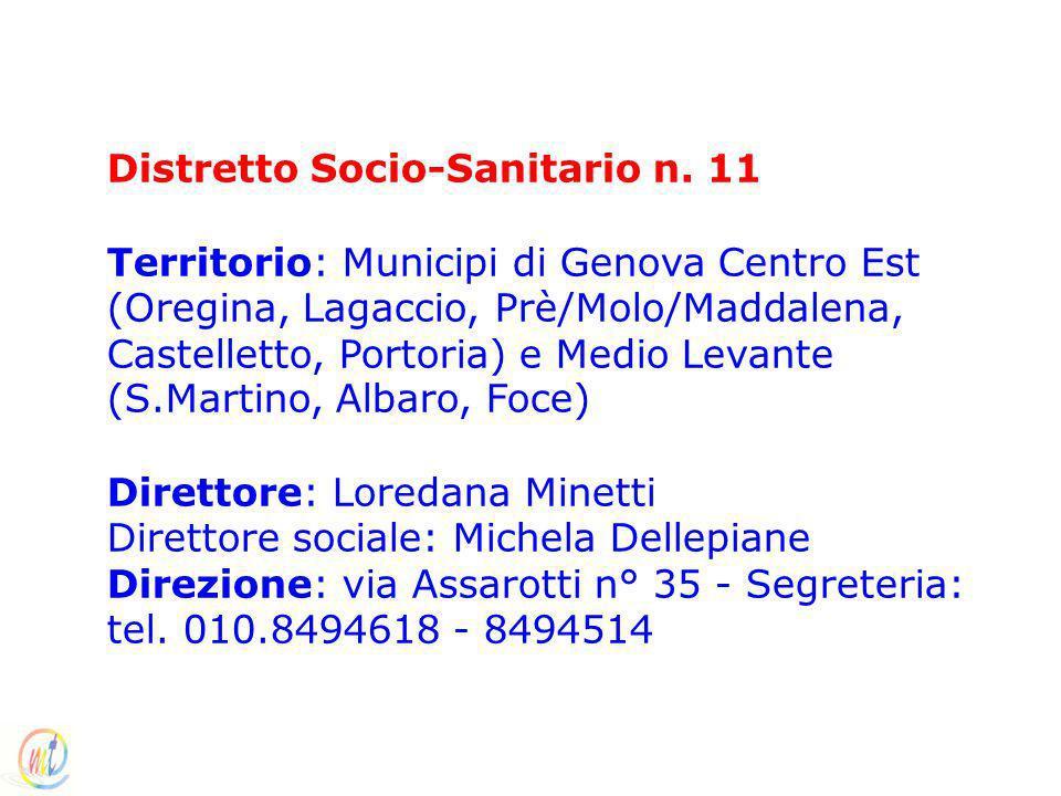 Distretto Socio-Sanitario n. 11 Territorio: Municipi di Genova Centro Est (Oregina, Lagaccio, Prè/Molo/Maddalena, Castelletto, Portoria) e Medio Levan