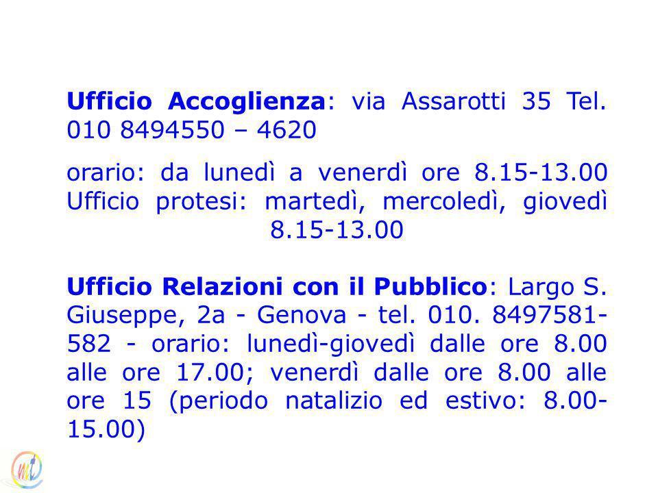 Ufficio Accoglienza: via Assarotti 35 Tel. 010 8494550 – 4620 orario: da lunedì a venerdì ore 8.15-13.00 Ufficio protesi: martedì, mercoledì, giovedì