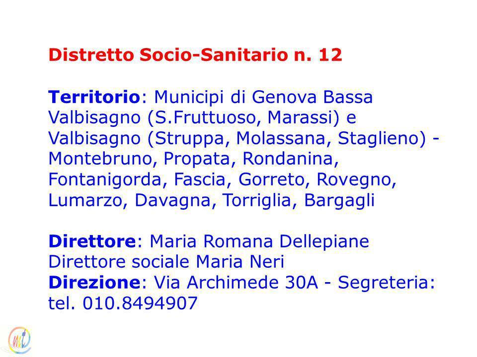 Distretto Socio-Sanitario n. 12 Territorio: Municipi di Genova Bassa Valbisagno (S.Fruttuoso, Marassi) e Valbisagno (Struppa, Molassana, Staglieno) -