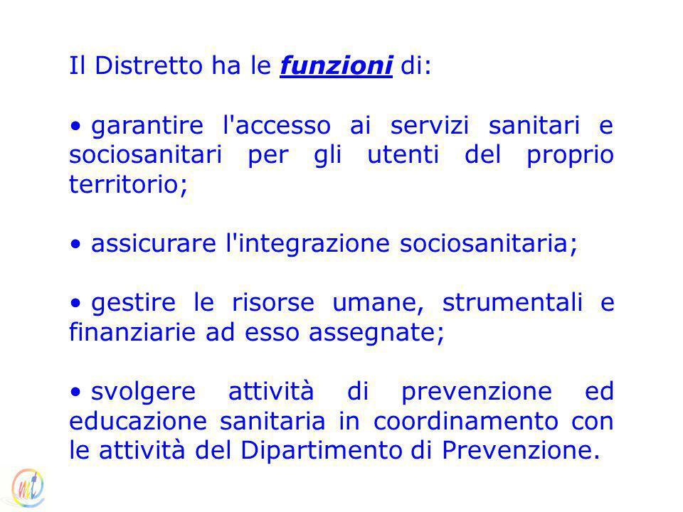 Il Distretto ha le funzioni di: garantire l'accesso ai servizi sanitari e sociosanitari per gli utenti del proprio territorio; assicurare l'integrazio