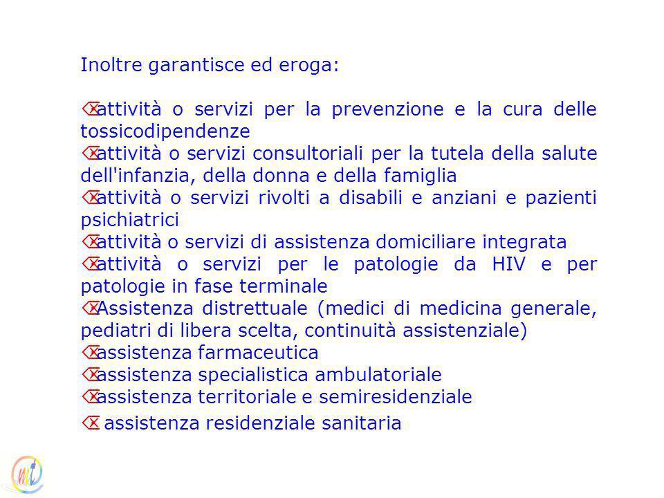 Inoltre garantisce ed eroga: Õ·attività o servizi per la prevenzione e la cura delle tossicodipendenze Õ·attività o servizi consultoriali per la tutel