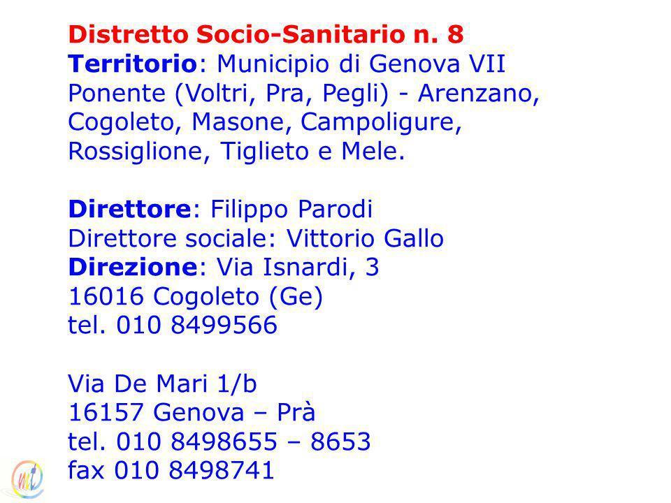 Distretto Socio-Sanitario n. 8 Territorio: Municipio di Genova VII Ponente (Voltri, Pra, Pegli) - Arenzano, Cogoleto, Masone, Campoligure, Rossiglione