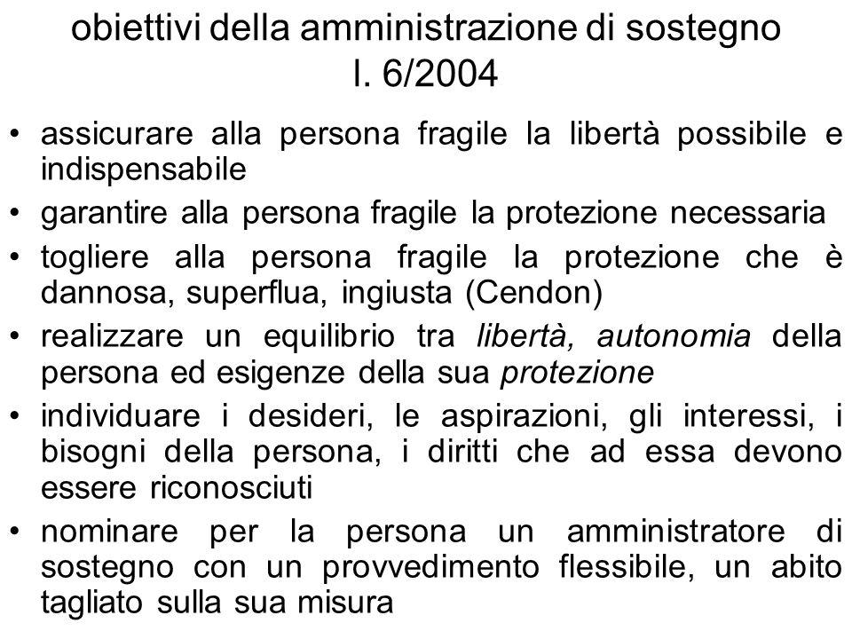 obiettivi della amministrazione di sostegno l. 6/2004 assicurare alla persona fragile la libertà possibile e indispensabile garantire alla persona fra