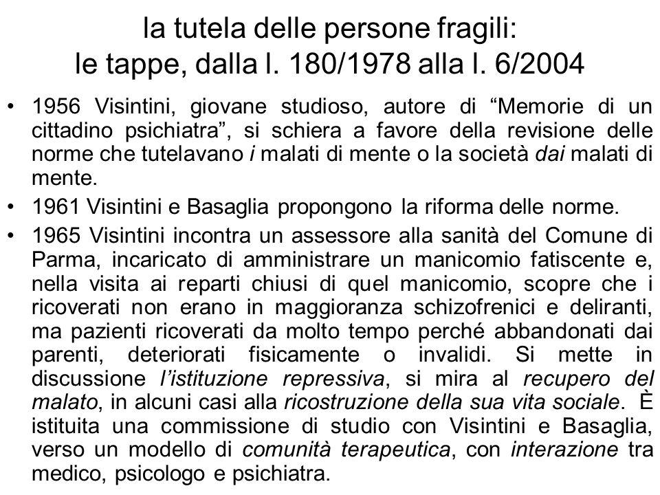 la tutela delle persone fragili: le tappe, dalla l. 180/1978 alla l. 6/2004 1956 Visintini, giovane studioso, autore di Memorie di un cittadino psichi