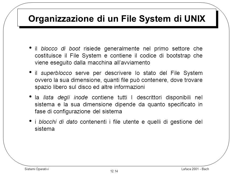 Laface 2001 - Bach 12.14 Sistemi Operativi Organizzazione di un File System di UNIX il blocco di boot risiede generalmente nel primo settore che costi