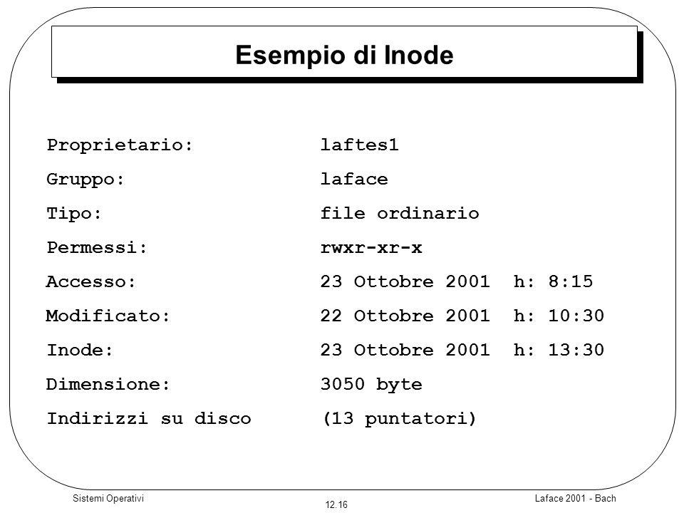Laface 2001 - Bach 12.16 Sistemi Operativi Esempio di Inode Proprietario:laftes1 Gruppo:laface Tipo:file ordinario Permessi:rwxr-xr-x Accesso:23 Ottob