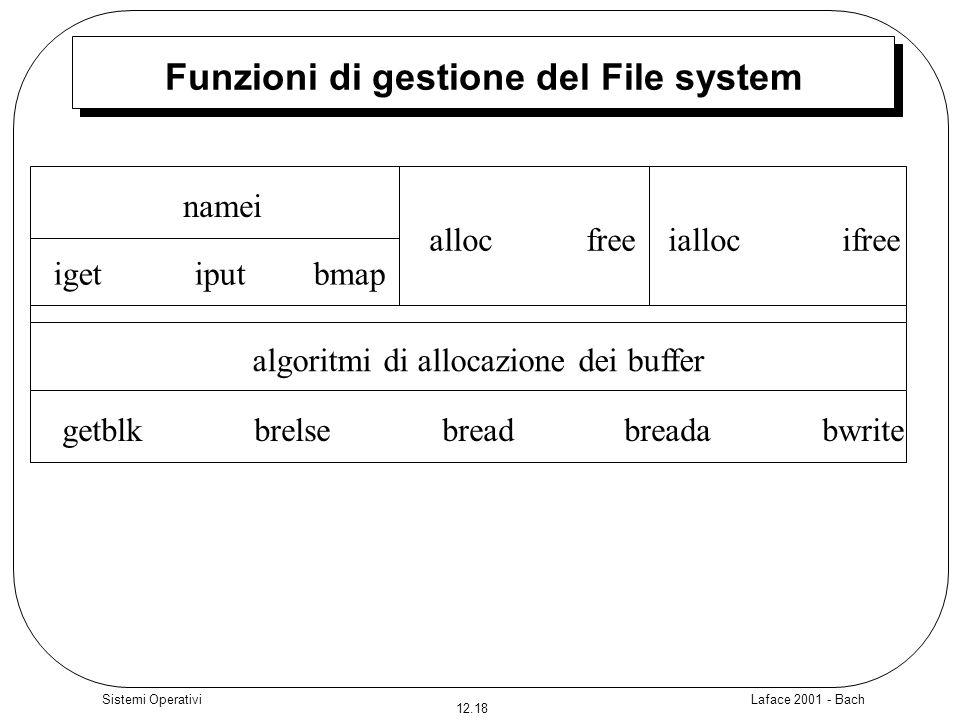 Laface 2001 - Bach 12.18 Sistemi Operativi Funzioni di gestione del File system algoritmi di allocazione dei buffer getblk brelse bread breada bwrite