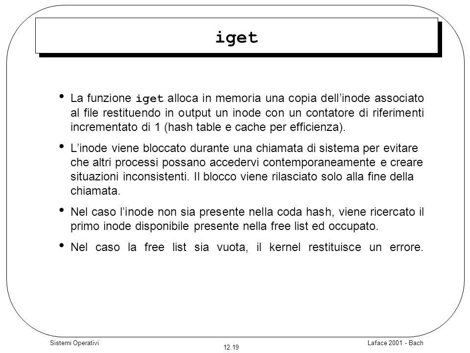 Laface 2001 - Bach 12.19 Sistemi Operativi iget La funzione iget alloca in memoria una copia dellinode associato al file restituendo in output un inod