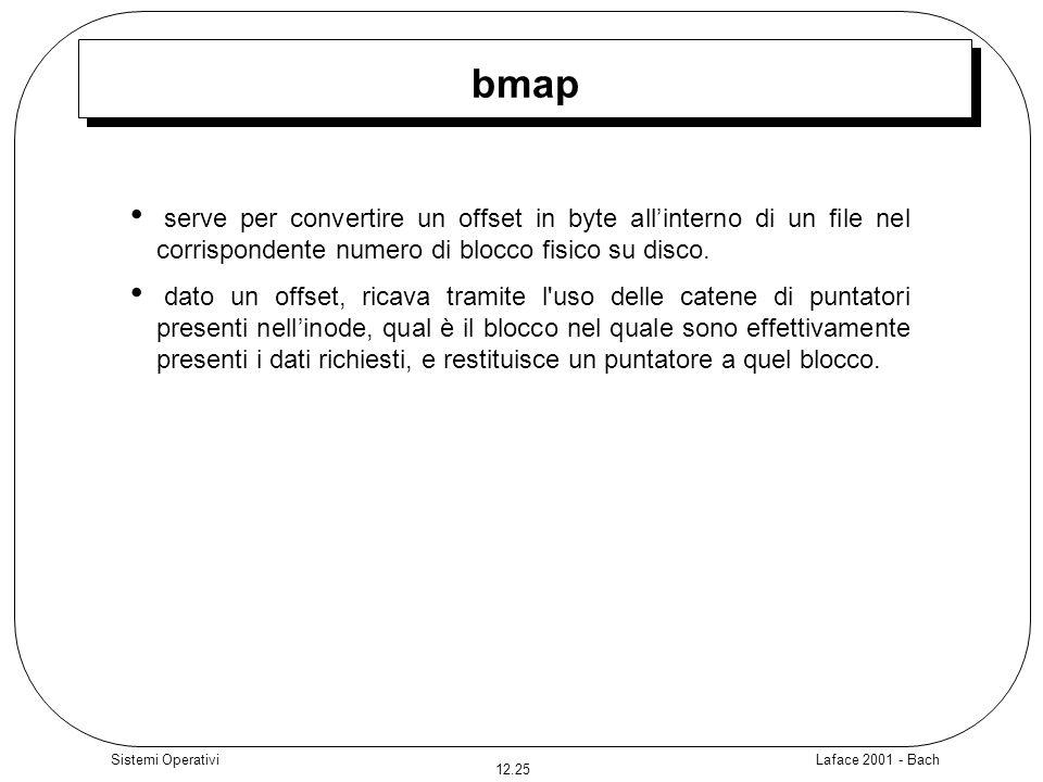 Laface 2001 - Bach 12.25 Sistemi Operativi bmap serve per convertire un offset in byte allinterno di un file nel corrispondente numero di blocco fisic