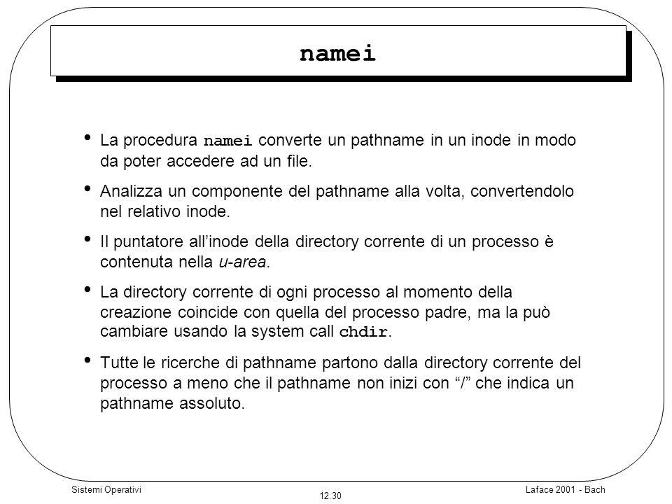 Laface 2001 - Bach 12.30 Sistemi Operativi namei La procedura namei converte un pathname in un inode in modo da poter accedere ad un file. Analizza un