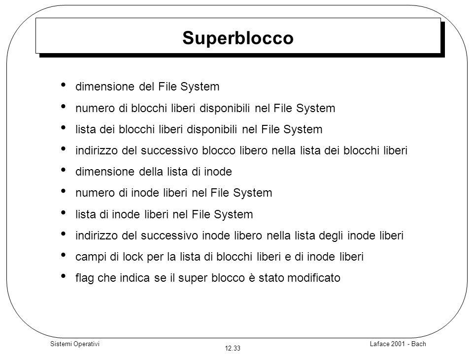 Laface 2001 - Bach 12.33 Sistemi Operativi Superblocco dimensione del File System numero di blocchi liberi disponibili nel File System lista dei blocc