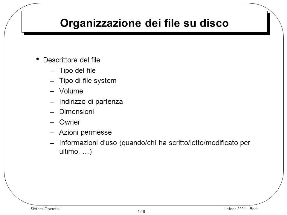 Laface 2001 - Bach 12.8 Sistemi Operativi Organizzazione dei file su disco Descrittore del file –Tipo del file –Tipo di file system – Volume – Indiriz