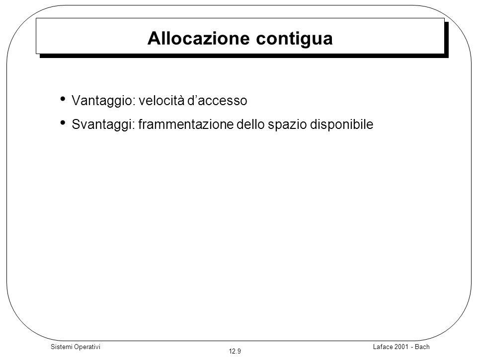 Laface 2001 - Bach 12.9 Sistemi Operativi Allocazione contigua Vantaggio: velocità daccesso Svantaggi: frammentazione dello spazio disponibile