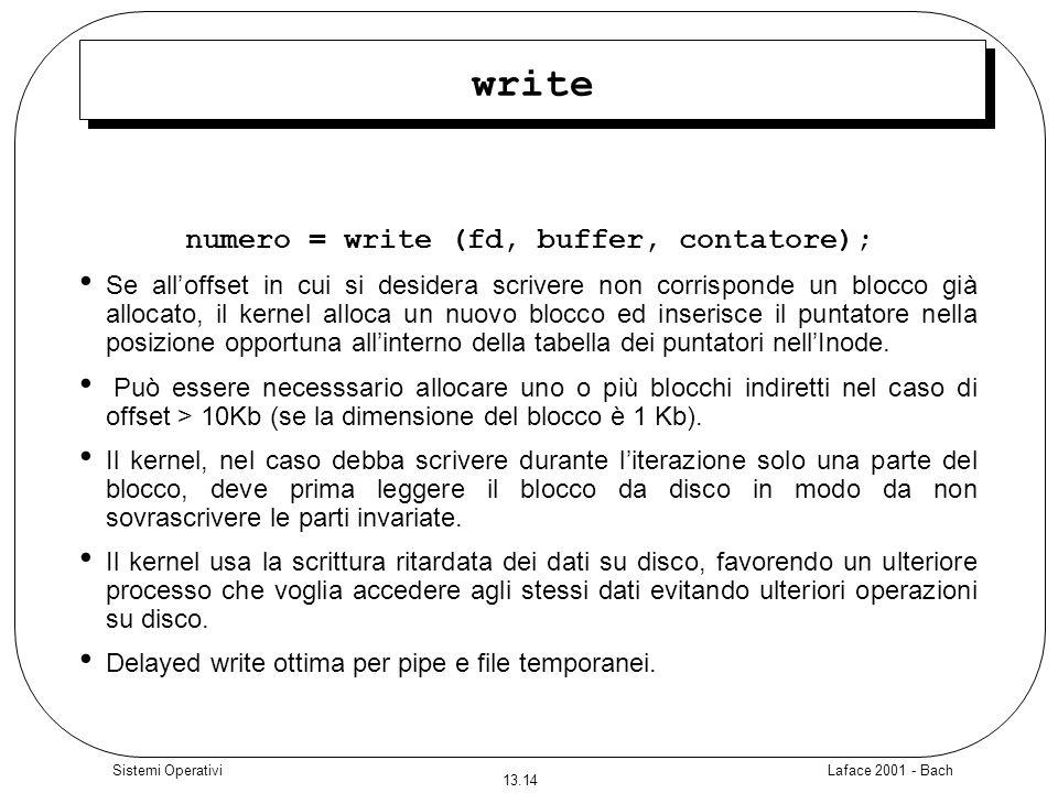 Laface 2001 - Bach 13.14 Sistemi Operativi write numero = write (fd, buffer, contatore); Se alloffset in cui si desidera scrivere non corrisponde un b