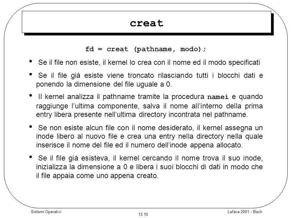 Laface 2001 - Bach 13.19 Sistemi Operativi creat fd = creat (pathname, modo); Se il file non esiste, il kernel lo crea con il nome ed il modo specific