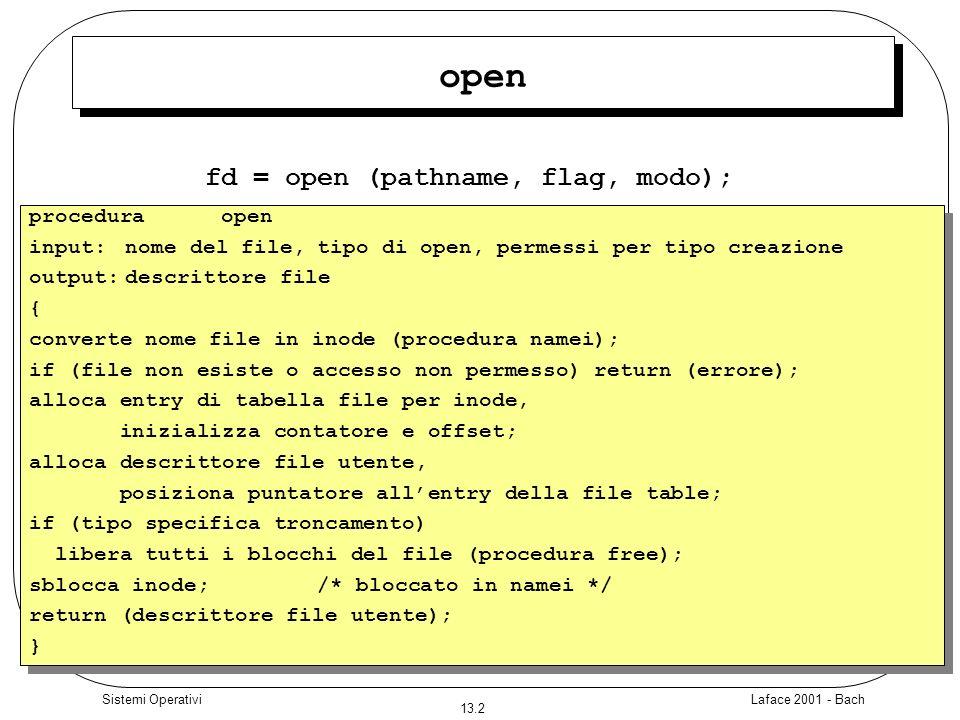 Laface 2001 - Bach 13.23 Sistemi Operativi mknod mknod (pathname, tipo e permessi, dispositivo); pathname è il nome del file da creare, tipo e permessi rappresentano il tipo di file da creare ed i permessi associati dispositivo specifica il major e il minor number del dispositivo
