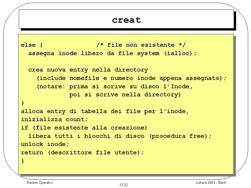 Laface 2001 - Bach 13.22 Sistemi Operativi creat else { /* file non esistente */ assegna inode libero da file system (ialloc); crea nuova entry nella