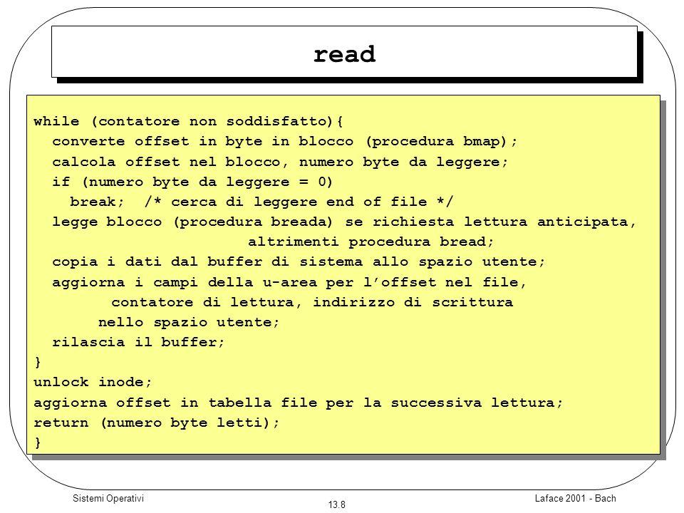 Laface 2001 - Bach 13.9 Sistemi Operativi read Il ciclo termina: –Naturalmente –Per EOF –Per errore lettura da device –Per errore nella copia sul buffer utente È diverso raggiungere lEOF rispetto a leggere un blocco con puntatore = 0 nellInode.