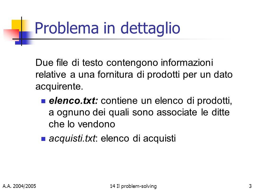 A.A. 2004/200514 Il problem-solving3 Problema in dettaglio Due file di testo contengono informazioni relative a una fornitura di prodotti per un dato