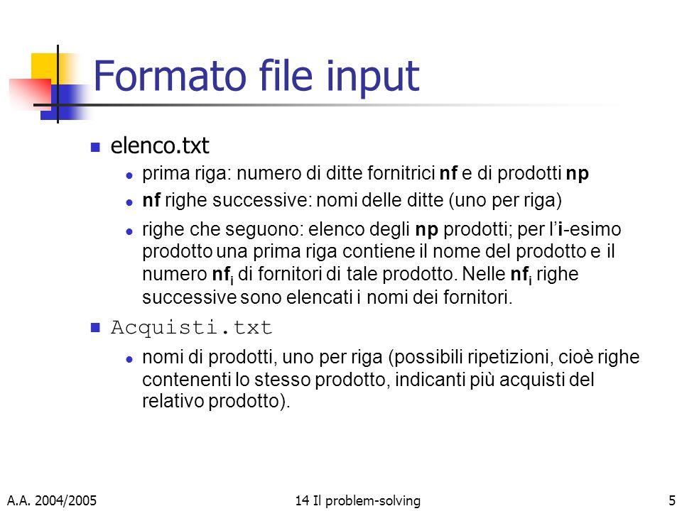 A.A. 2004/200514 Il problem-solving5 Formato file input elenco.txt prima riga: numero di ditte fornitrici nf e di prodotti np nf righe successive: nom