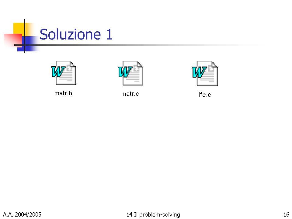 A.A. 2004/200514 Il problem-solving16 Soluzione 1