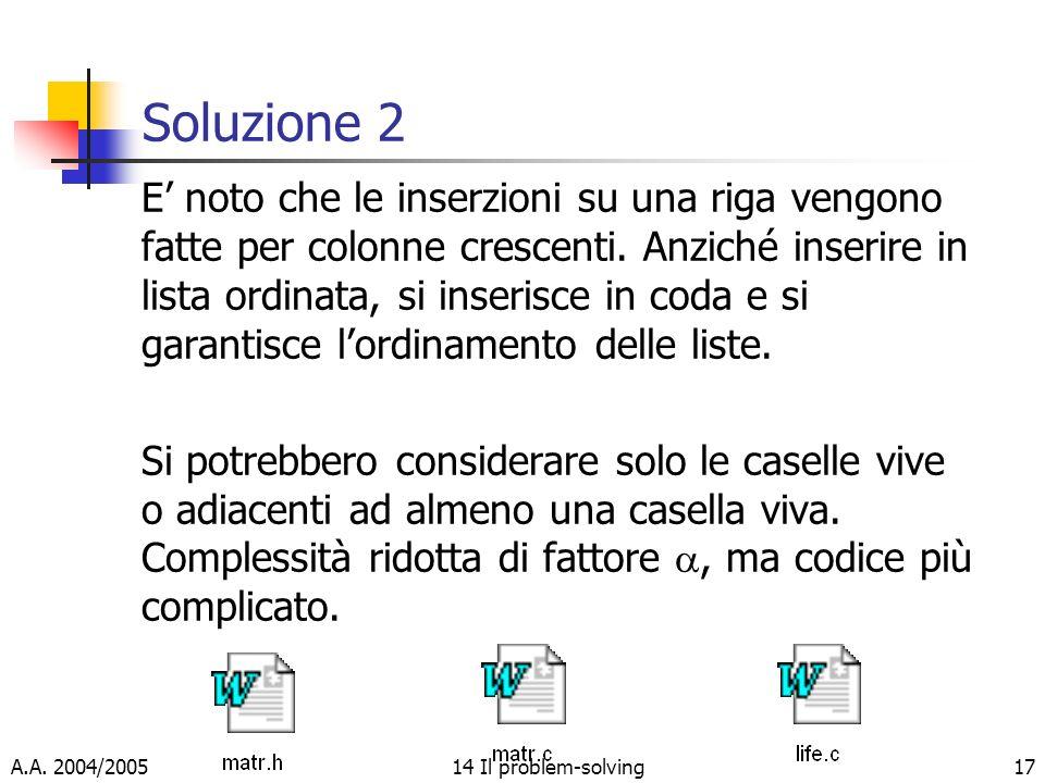A.A. 2004/200514 Il problem-solving17 Soluzione 2 E noto che le inserzioni su una riga vengono fatte per colonne crescenti. Anziché inserire in lista