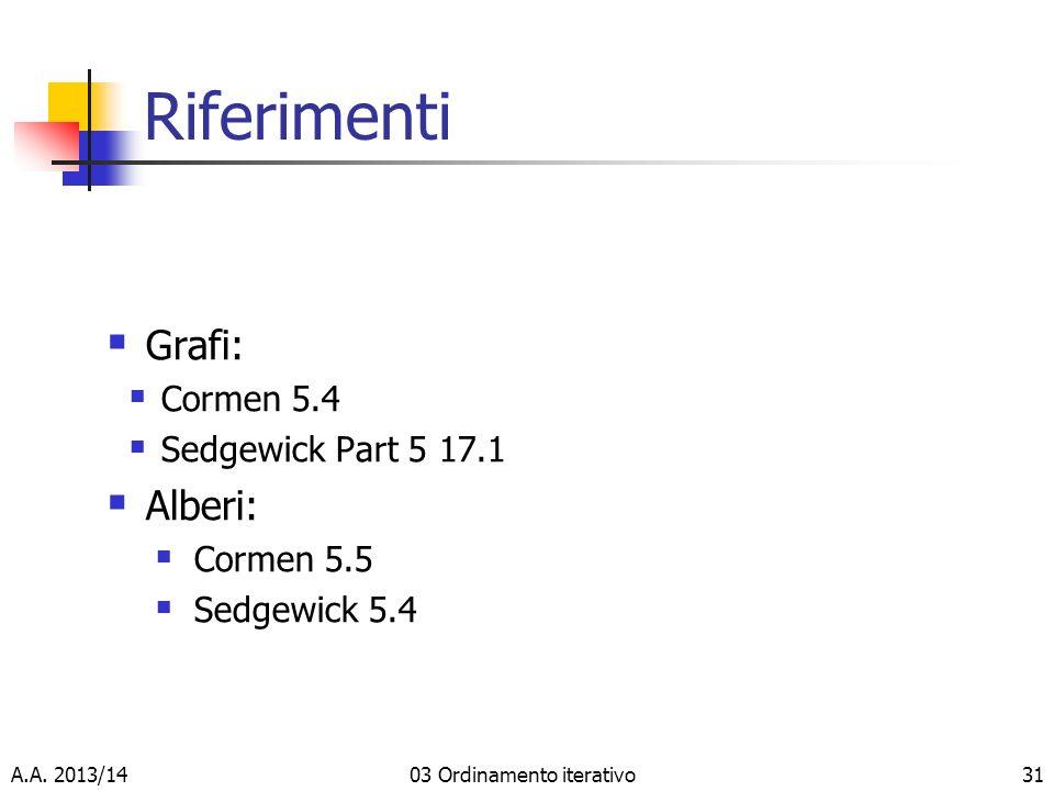 Riferimenti Grafi: Cormen 5.4 Sedgewick Part 5 17.1 Alberi: Cormen 5.5 Sedgewick 5.4 A.A.