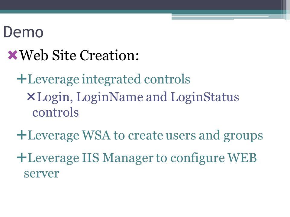 Demo Web Site Creation: Leverage integrated controls Login, LoginName and LoginStatus controls Leverage WSA to create users and groups Leverage IIS Ma