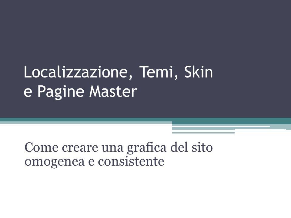Localizzazione, Temi, Skin e Pagine Master Come creare una grafica del sito omogenea e consistente