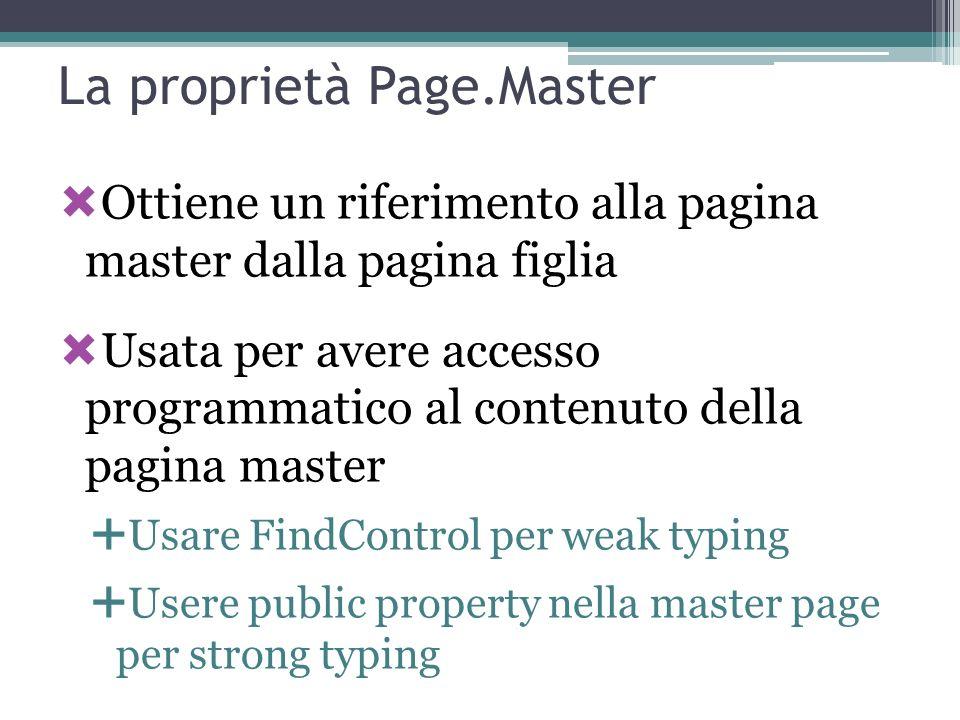 La proprietà Page.Master Ottiene un riferimento alla pagina master dalla pagina figlia Usata per avere accesso programmatico al contenuto della pagina