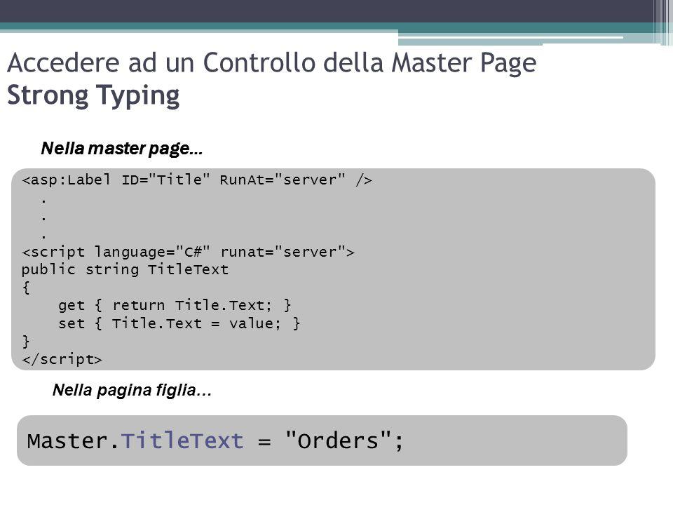 Accedere ad un Controllo della Master Page Strong Typing Master.TitleText =
