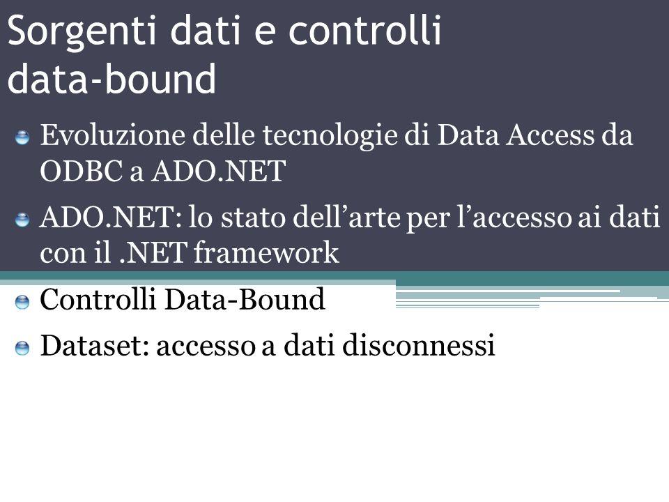 Sorgenti dati e controlli data-bound Evoluzione delle tecnologie di Data Access da ODBC a ADO.NET ADO.NET: lo stato dellarte per laccesso ai dati con