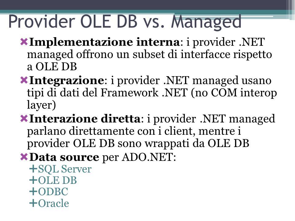 Provider OLE DB vs. Managed Implementazione interna: i provider.NET managed offrono un subset di interfacce rispetto a OLE DB Integrazione: i provider