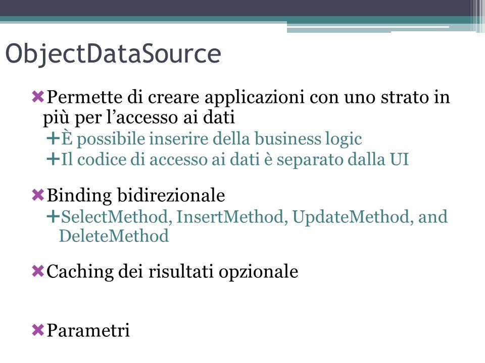 ObjectDataSource Permette di creare applicazioni con uno strato in più per laccesso ai dati È possibile inserire della business logic Il codice di acc