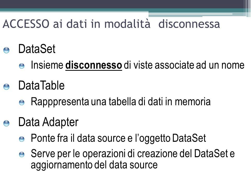 ACCESSO ai dati in modalità disconnessa DataSet Insieme disconnesso di viste associate ad un nome DataTable Rapppresenta una tabella di dati in memori