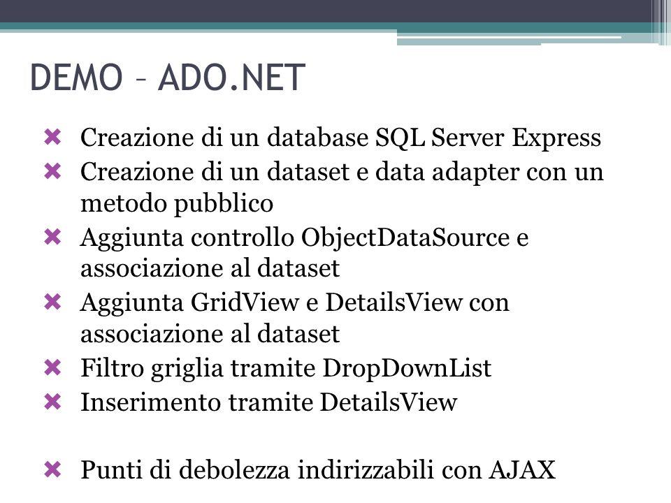 DEMO – ADO.NET Creazione di un database SQL Server Express Creazione di un dataset e data adapter con un metodo pubblico Aggiunta controllo ObjectData