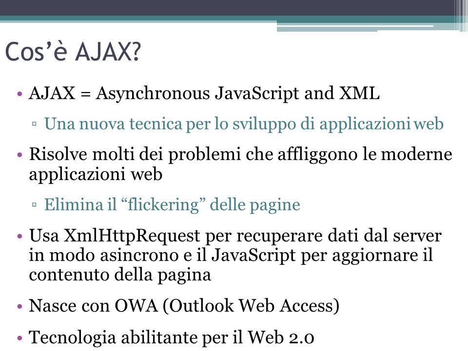 Cosè AJAX? AJAX = Asynchronous JavaScript and XML Una nuova tecnica per lo sviluppo di applicazioni web Risolve molti dei problemi che affliggono le m