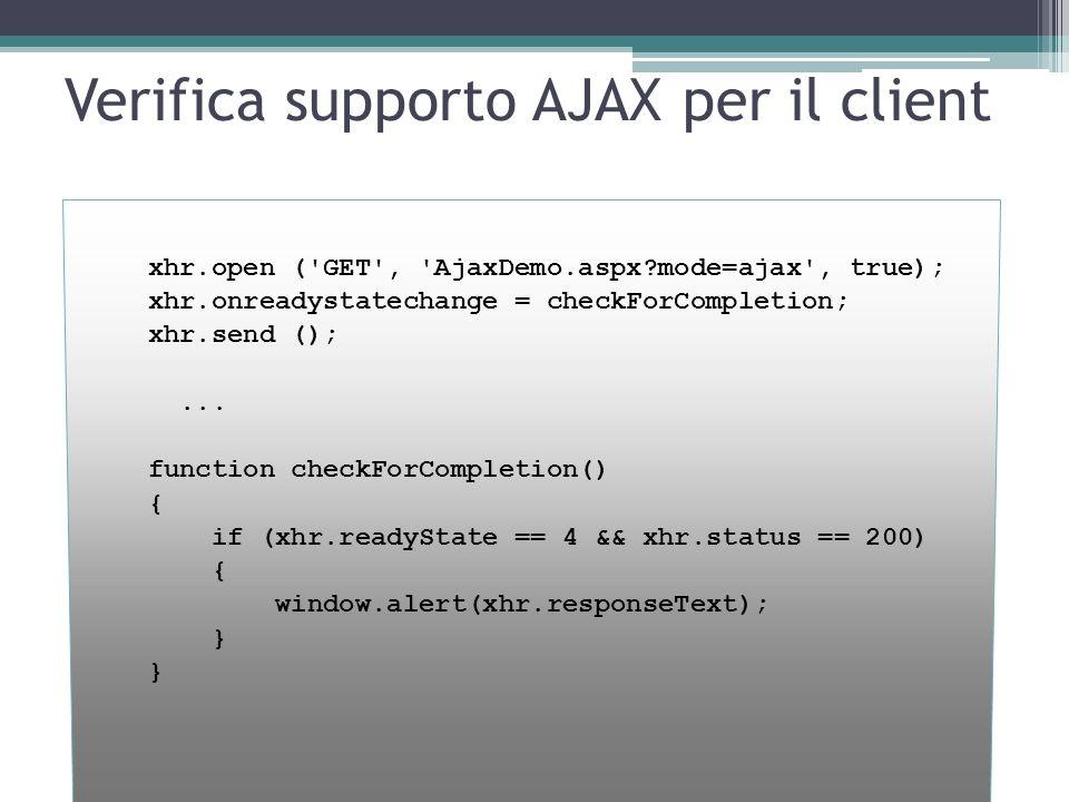 Verifica supporto AJAX per il client xhr.open ('GET', 'AjaxDemo.aspx?mode=ajax', true); xhr.onreadystatechange = checkForCompletion; xhr.send ();... f